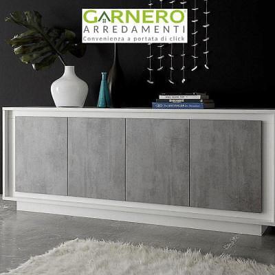 Credenza SKY bianco/cemento mobile madia moderna design soggiorno salotto sala