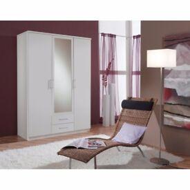 ==BEST BUY GUARANTEED== WALNUT AND WHITE == BRAND NEW GERMAN 3 DOOR OSAKA WARDROBE -- cheapest price