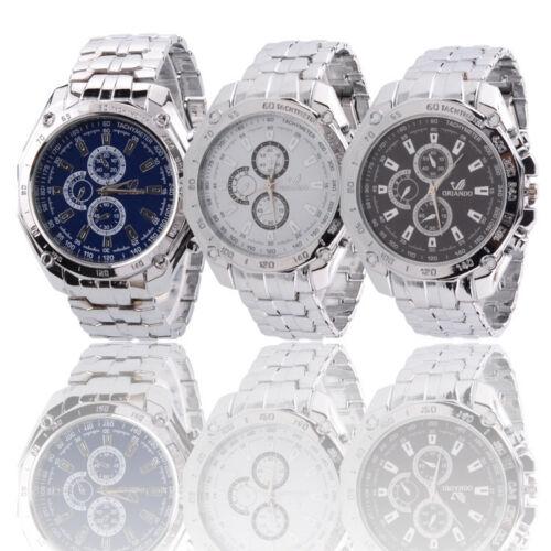 Fashion New Mens Watches Quartz Analog Sports Stainless Steel Wrist Watch NEW UK
