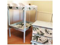 Beautiful unique upcycled baby changing table and chest of drawers
