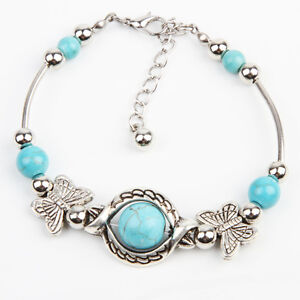 New Women's Tibetan Silver Turquoise Butterfly Charm Bracelet Bangle Jewellery