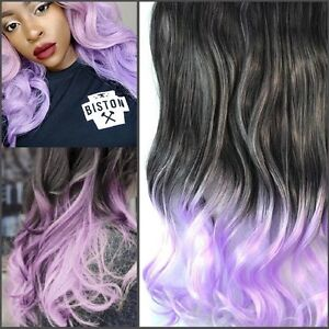 "Clip in hair extension, Straight hair,60 cm, 24"",LILAC  OMBRE"