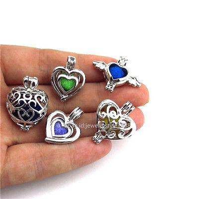 (21671 5pcs/set  Silver Flying Heart Leaf Love Bead Pearl Cage Locket - Bulk Sale)