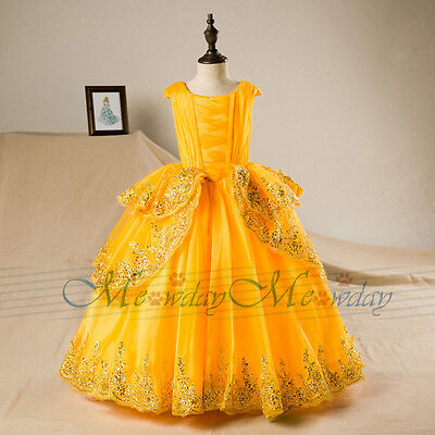 - Belle Costume Beauty and the Beast Princess Party Ball Gown Flower Girls Dress
