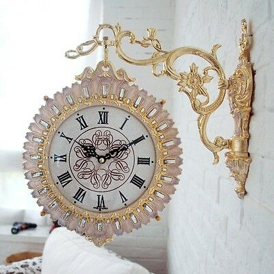 Antique Luxury Gold Flower Double Sided Wall Clock Art Home Decor Station Clock