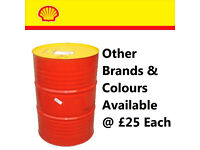 Red yellow shell steal iron oil barrel can cut for bonfire wood burning or burner can also deliver.