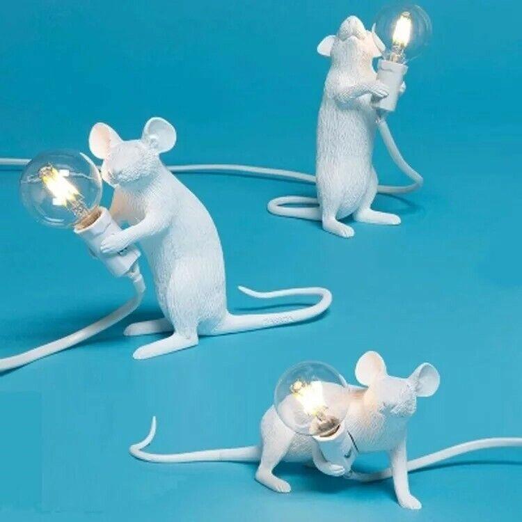 3 White Mouse Mice Animal Designer Lamp Office Bedroom Australia plugs Lights