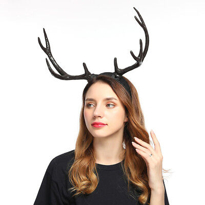 Headband Gothic Halloween Elf Deer Horn Xmas Antler Costume Women Hairband Props