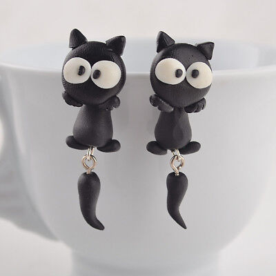 Cute Halloween Animal (Funny  Black  Pussy Cat  Earrings Cute  Kitsch Retro Animal Kiteen)
