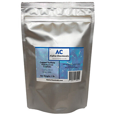 1 Pound - Copper Sulfate Pentahydrate Crystals - 99 Pure