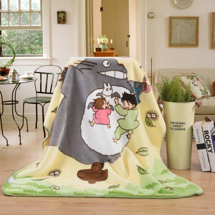 110*140cm Ghibli Cartoon My Neighbor Totoro Soft Blanket Anime Shawl Sheet UKhot