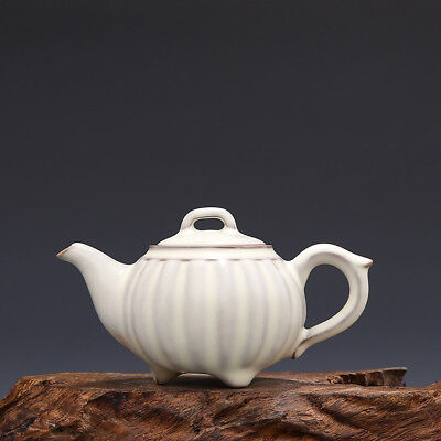 Melon White Tea Tea (China antique Porcelain Song Ru kiln Black White glaze melon Leng Handle tea pot )
