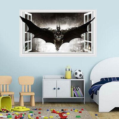 DIY 3D Windows Batman Art Vinyl Wall Stickers Decal Kids Nursery Homer Decor - Batman Diy