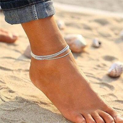 Silver Ankle Bracelet 4 Layer Women Anklet Adjustable Chain Foot Beach Jewelry