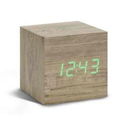 Gingko Ash Cube Digital Click Clock/Green LED Alarm Clock GK08G12