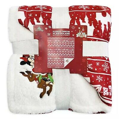 "Disney Parks Christmas Holiday Mickey And Minnie Fleece Throw Blanket 50"" x 60"""