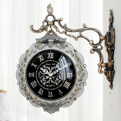 Antique Luxury Premium Double Sided Wall Clock Art Home Decor Station Clock Gift