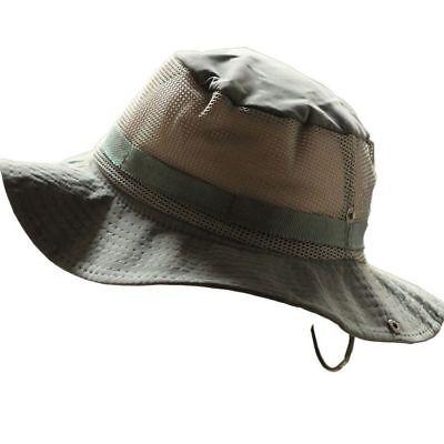 New Unisex Outdoor Hunting Fishing Mesh Cap Wide Brim Canvas Sun Hat Bucket Hat