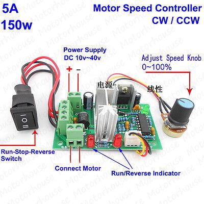 12v 24v 36v 5a Pwm Dc Motor Speed Controller Cw Ccw Reversible Regulator Switch