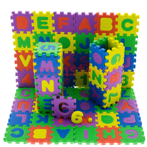 Купить 36 Pcs Baby Kids Educational Alphanumeric Puzzle Mats Small Size Child Toy Gift