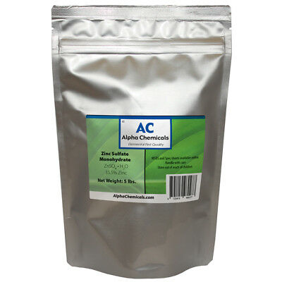 Zinc Sulfate Monohydrate Powder - 35.5 Zn - 5 Pounds