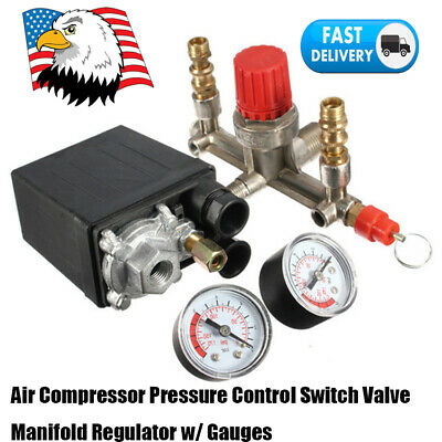 Air Compressor Pressure Control Switch Valve Manifold Regulator Gauges 0-175psi