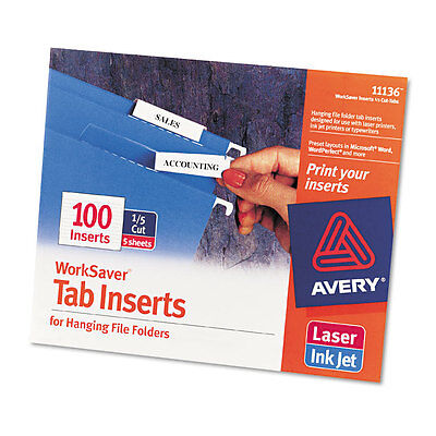 - Avery Printable Inserts For Hanging File Folders, 1/5 Tab, Two, White, 100/pack