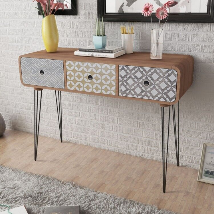 Brown Side Cabinet Console Table Hallway 3 Drawer Retro Lounge Living Room  Decor Part 62