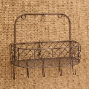 Wire Wall Basket with Hooks Primitive Rustic Chicken Wire New