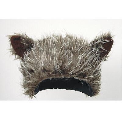 FURRY WOLF HAT W/ EARS GREY WILD BIG BAD WOLF WEREWOLF WOLFMAN COSTUME HAT