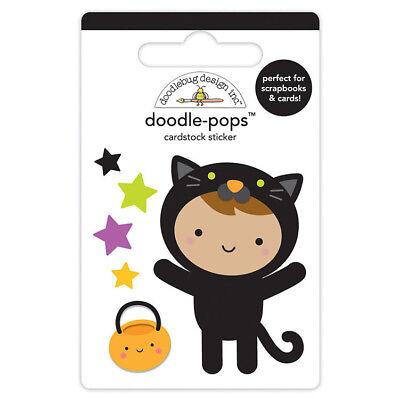 Doodlebug Design Pumpkin Party Halloween Doodle-Pops 3 D Sticker Cute Kitty - Cute Halloween Doodles