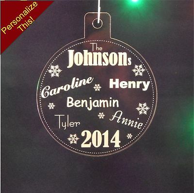 3 inch Personalized Family Names Christmas Ornament Custom 1/4