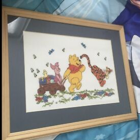 Two Winnie the Pooh Framed Pictures - Perfect Condition