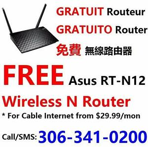 FREE wifi router with Unlimited Cable internet plan $30/month and up, call 306-341-0200 or 403-466-9999 for more info