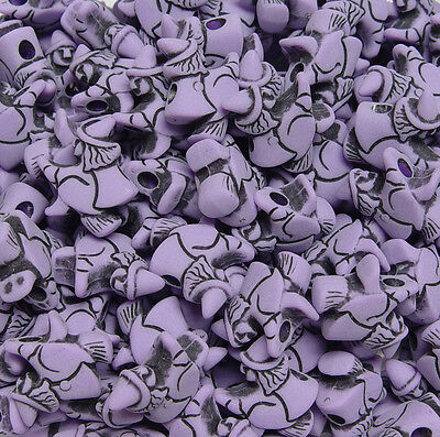 Witch on Broom shaped pony beads Lilac 25pc made USA Halloween Crafts Kid School