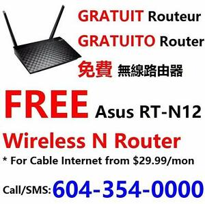 FREE wifi router with Unlimited Cable internet plan $30/month and up, call 604-354-0000 or 604-337-2666 for more info