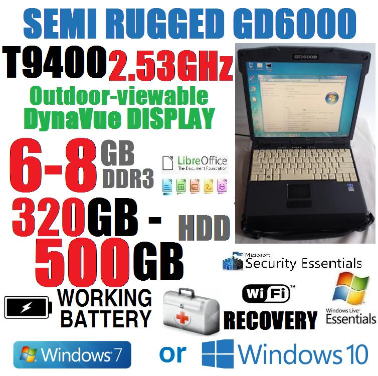 BEATS I5! ITRONIX GD6000 MILITARY SEMI-RUGGED NOTEBOOK T9400 w/ 6-8GB 320-500GB+