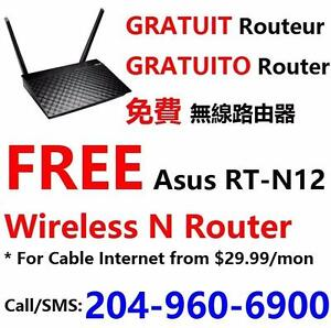 FREE wifi router with Unlimited Cable internet plan $30/month and up, call 204-960-6900 or 403-466-9999 for more info