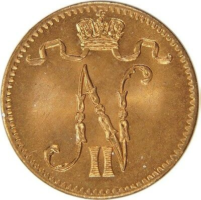 1913 Russian Finland Nicholas II  1 pennia- Nice Red BU