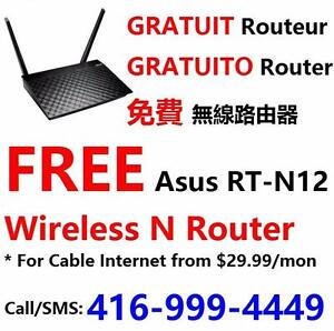 FREE wifi router with Unlimited Cable internet plan $30/month and up, call 416-999-4449 or 416-822-8888 for more info