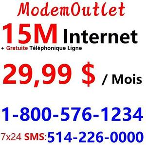 Unlimited 15M VDSL internet with FREE Phone Service , $29.99/month no contract.Please call or text 514-226-0000 to order