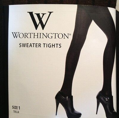 New Worthington Brown Designed Sweater Tights (Size 1) 4'11