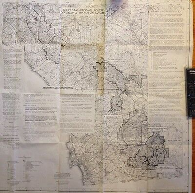 Rare Huge Vtg Cleveland National Forest Map Off-road Vehicle Plan Map 1977 36x38