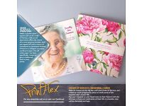 Same Day Order of Service, Memorial & Funeral Cards. Competitive prices at Printflex! 439 Duke St.