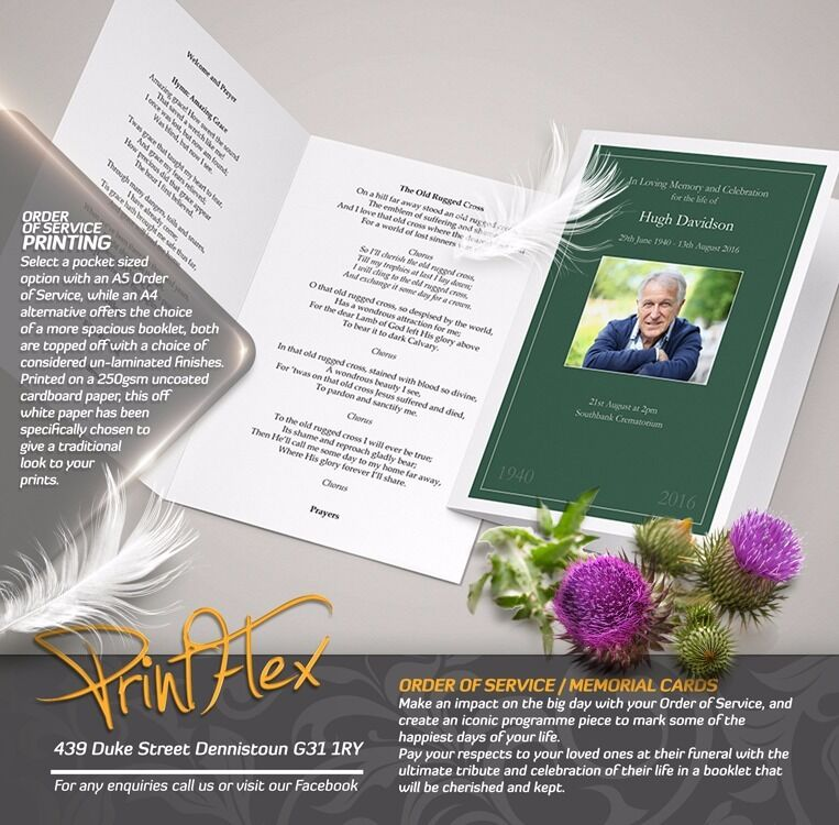 Same Day Print! Order of Service, Memorial & Funeral Cards. Competitive prices at Printflex!