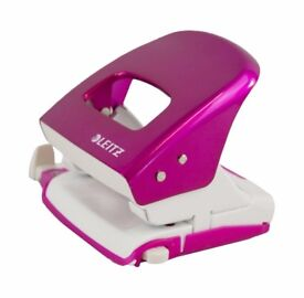 Leitz Metalalic Pink Paper Hole Punch, 30 Sheets, Guide Bar with Format Markings