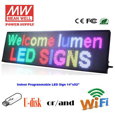 14x 52 Led Sign Multicolor Programmable Scrolling Indoor Message Display Board
