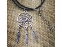 Dreamcatcher Feather Black Leather Necklace