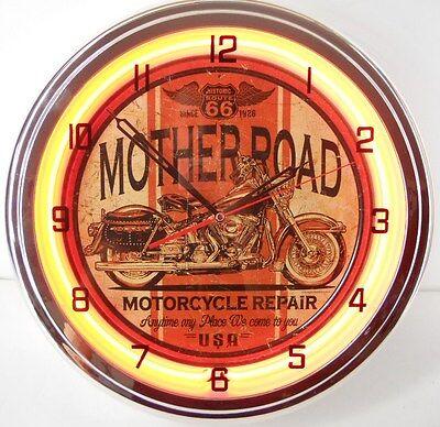 "Mother Road Motorcycle 15"" Neon Light Clock Garage Chopper Dyna Emblem Sign S OR"