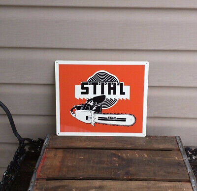 "Vintage Reproduction Stihl Chain Saw 9/"" x 12/"" Metal Tin Aluminum Sign"